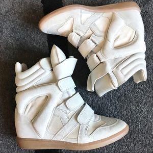 Isabel Marant Beckett Suede Hidden Wedge Sneakers